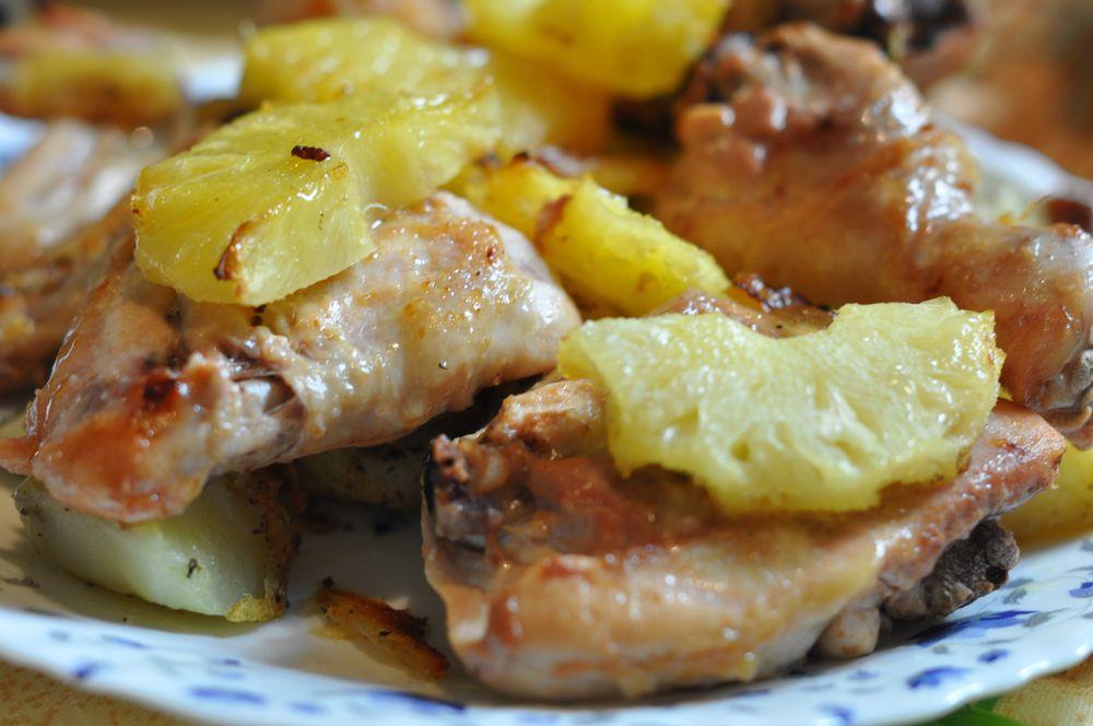 Куриные ножки с ананасами в духовке рецепт
