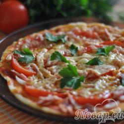 Бездрожжевая пицца в микроволновке