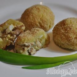 Картофельные крокеты с курицей