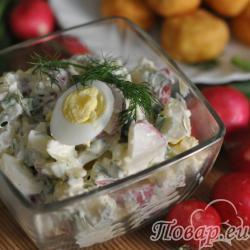 Салат из редиса с картофелем