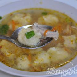 Суп с гречкой и картофельными клёцками