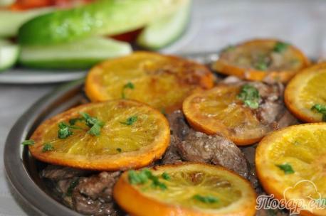 Как правильно приготовить печень говяжью: печень с апельсинами