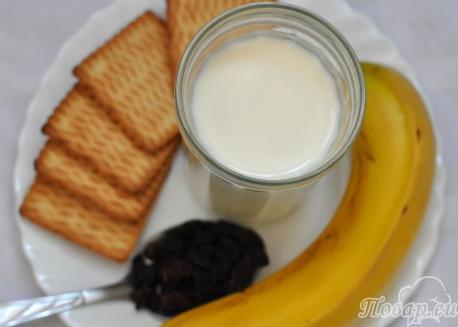 Банановый коктейль с печеньем: продукты