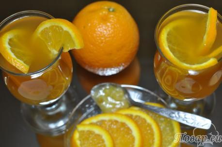 Чёрный чай с апельсином: готовый напиток