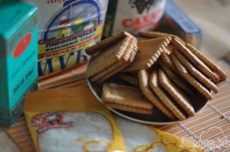 ингредиенты для приготовления десерта из печенья без выпечки