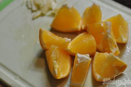 Рецепт имбирного чая с апельсином: дольки апельсинов