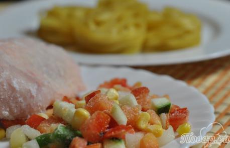 Гнёзда из макарон с курицей: продукты