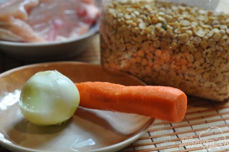 Гороховая каша с курицей в мультиварке: продукты
