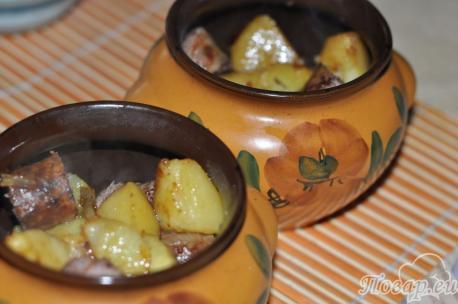 Картофель с колбасой для горшочка по-белорусски