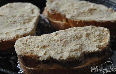 Горячие бутерброды на сковороде: обжаривание