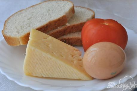 Гренки с помидорами и сыром: продукты