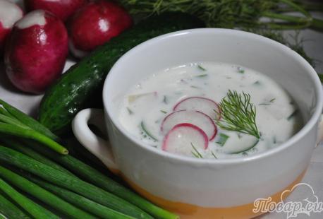 Холодный овощной суп на кефире