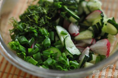 Холодный овощной суп на кефире: ингредиенты