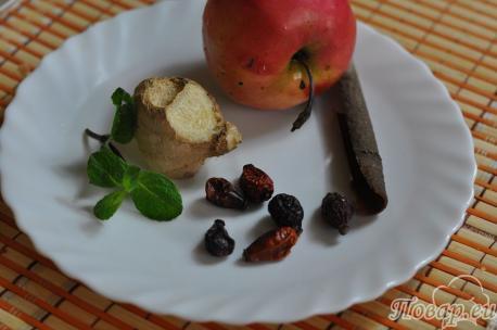 Имбирный чай с шиповником: продукты