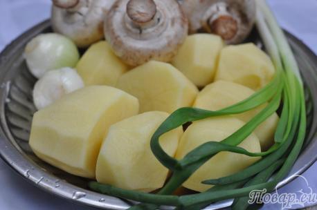 Жареная картошка с шампиньонами: продукты