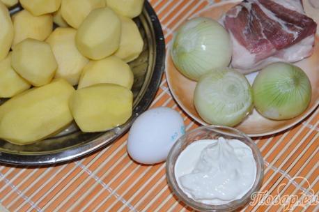 продукты  для приготовления картофельной бабки по-белорусски