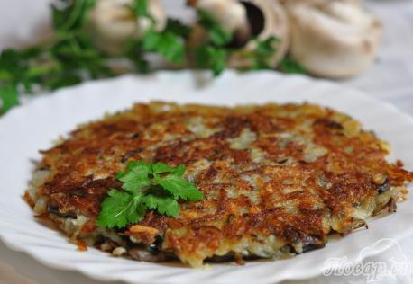 Картофельная лепёшка с грибами