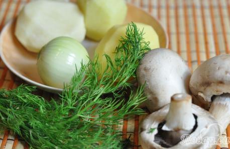 Картофельная лепёшка с грибами: продукты
