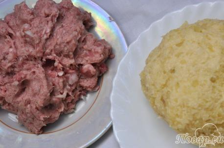 Картофельные клёцки с мясом: картофельная масса и фарш