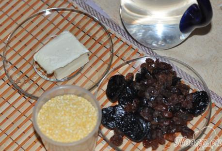 Кукурузная каша с сухофруктами: продукты