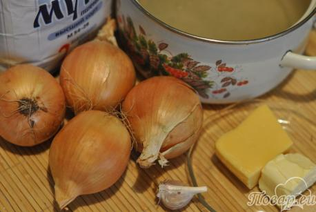 Луковый суп с сыром и гренками: продукты