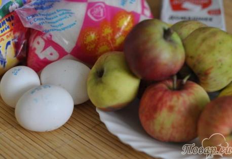 Пирог с яблоками: продукты