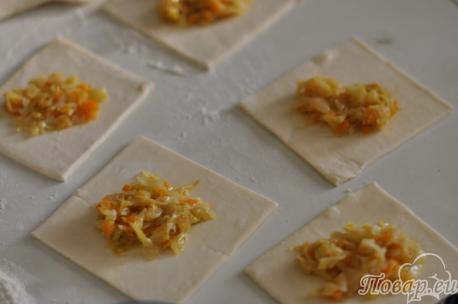 Тесто с начинкой для пирожков из слоёного теста с капустой