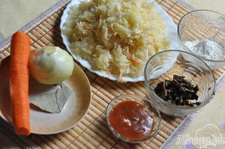 Постные щи из квашеной капусты: продукты