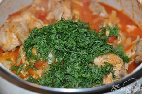 приготовление чахохбили: зелень