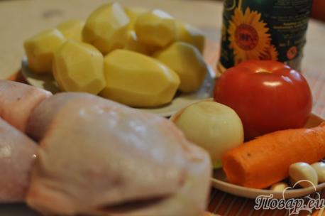 продукты для приготовления курицы с овощами в рукаве