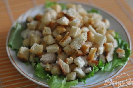 Сухарики для рецепта салата Цезарь