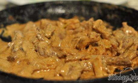 Рецепт бефстроганов: готовое блюдо