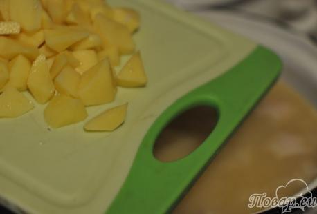 Рецепт горохового супа с мясом: картофель