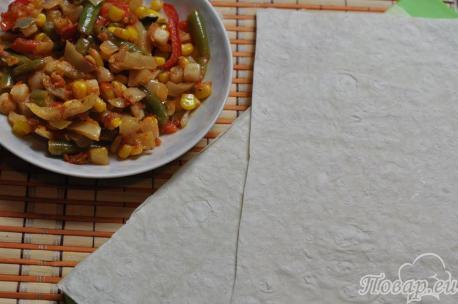 Рецепт овощей в лаваше: обжаренная смесь и лаваш