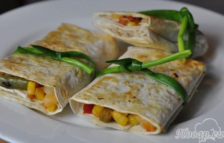 Рецепт овощей в лаваше: готовое блюдо