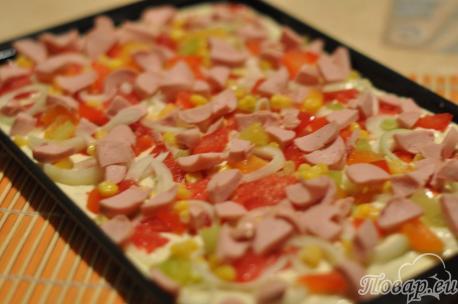 Тесто для пиццы на кефире на противне