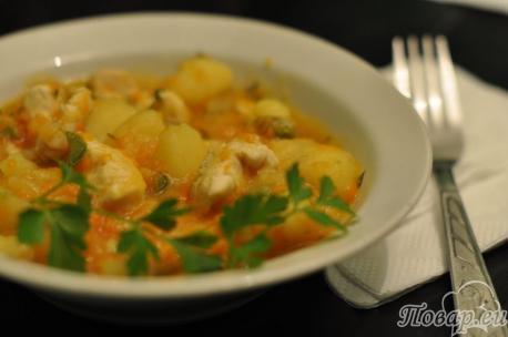 Рецепт тушёной картошки с курицей
