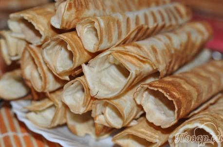 Рецепт вафельных трубочек: готовые трубочки