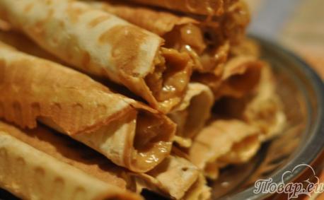Рецепт вафельных трубочек: трубочки со сгущёнкой