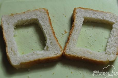 Рецепт яичницы по-французски: подготовка хлебной основы