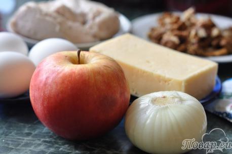 ингредиенты для салата Черепаха с курицей и грецкими орехами