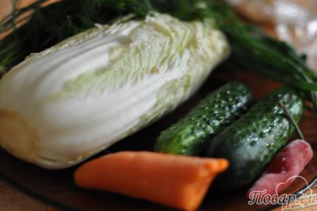 продукты для салата овощного с капустой