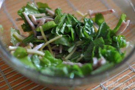 Заправка салата с ветчиной и сыром