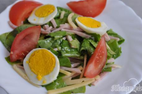 Готовый салат с ветчиной и сыром
