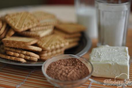 Продукты для шоколадной колбаски из печенья
