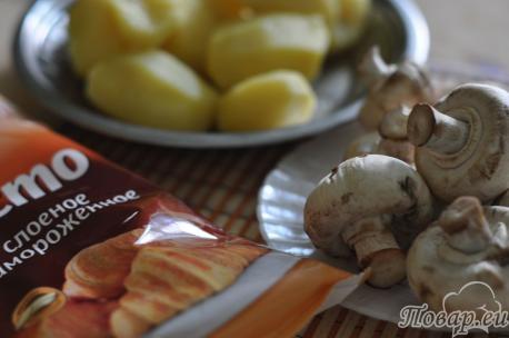 Слойки с картошкой и грибами: продукты
