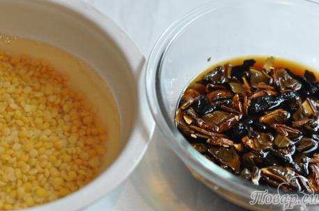 Суп гороховый постный: грибы, горох