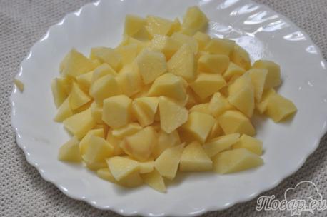Суп из чечевицы с курицей: картофель