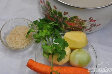 Суп рисовый на курином бульоне: продукты
