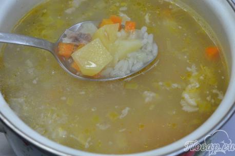 Суп рисовый на курином бульоне: готовое блюдо
